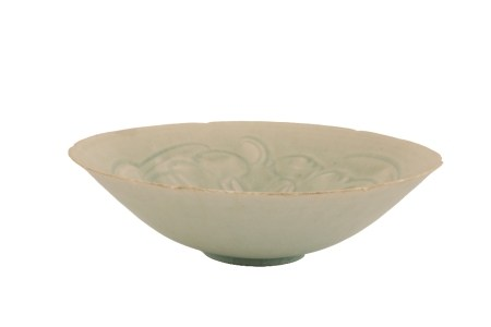 QINGBAI SHALLOW CARVED HEXALOBE BOWL, SOUTHERN SONG DYNASTY