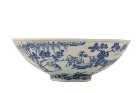 BLUE AND WHITE SHALLOW MING-STYLE 'BOYS' BOWL, XUANDE SIX CHARACTER MARK BUT KANGXI PERIOD