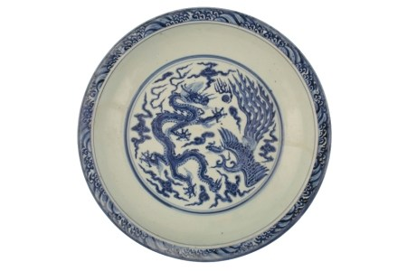 VERY RARE AND IMPORTANT BLUE AND WHITE 'DRAGON AND PHOENIX' BASIN, ZHENGTONG PERIOD (1436-1449)