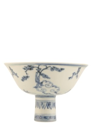 A BLUE AND WHITE 'THREE FRIENDS' STEM BOWL, JINTAI PERIOD (1428-1457)