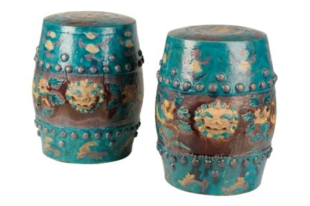 PAIR OF FAHUA TURQUOISE-GROUND BARREL-SHAPED GARDEN SEATS, MING DYNASTY, 16TH CENTURY
