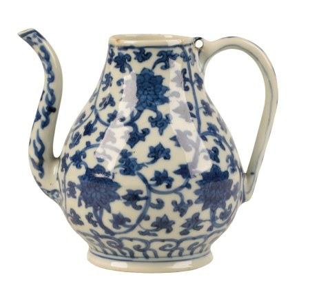 BLUE AND WHITE PEAR-SHAPED EWER, WANLI SIX CHARACTER MARK AND OF THE PERIOD