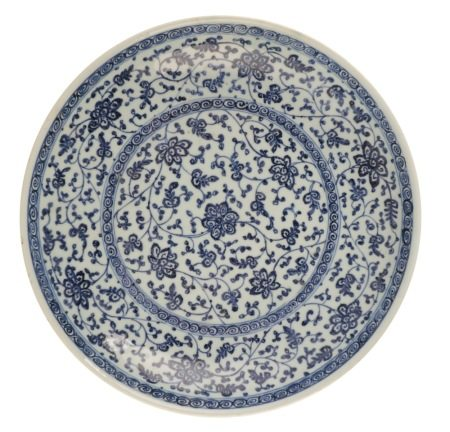 BLUE AND WHITE MING-STYLE DISH, QIANLONG PERIOD
