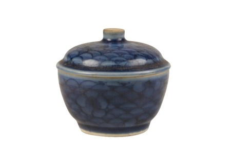 BLUE-GLAZED COVERED BOWL, TRANSITIONAL PERIOD