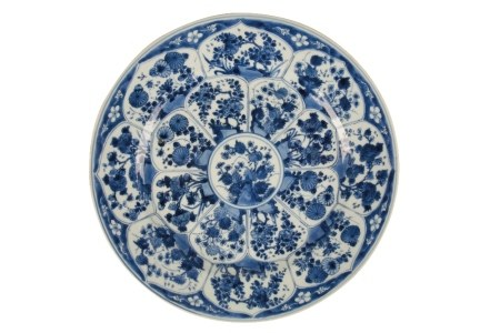 BLUE AND WHITE FOLIATE CHARGER, KANGXI SIX CHARACTER MARK AND OF THE PERIOD