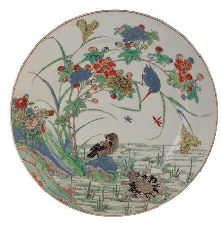 FAMILLE VERTE 'WATER BIRDS' CHARGER, KANGXI PEDRIOD