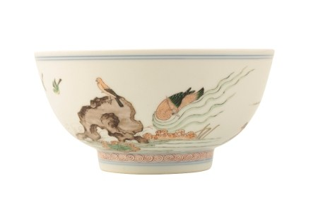 FINE AND RARE FAMILLE VERTE 'MANDARIN DUCKS' BOWL,KANGXI PERIOD