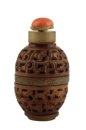 TWO CHINESE JADE SNUFF BOTTLES