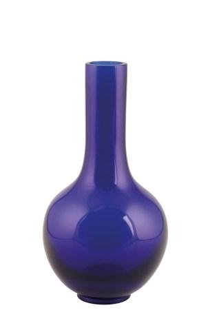 BLUE GLASS BOTTLE VASE, QIANLONG