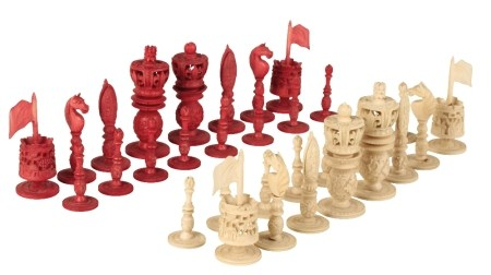 CANTONESE IVORY CHESS SET, QING DYNASTY, 19TH CENTURY