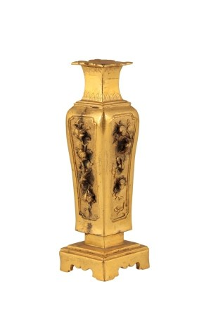 GILT-BRONZE 'TONKIN' SQUARE-SECTION BALUSTER VASE, LATE MING / EARLY QING