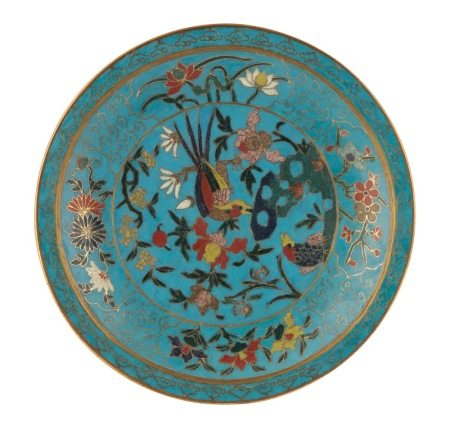 CLOISONNÉ ENAMEL TURQUOISE-GROUND POLYCHROME CIRCULAR DISH, MING DYNASTY, EARLY 17TH CENTURY