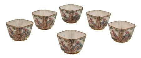 SET OF SIX CANTON ENAMEL SQUARE-SECTION WINE CUPS, QIANLONG PERIOD