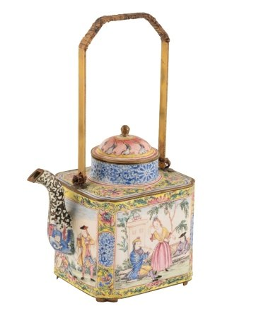 CANTON ENAMEL SQUARE-SECTION EUROPEAN-SUBJECT TEAPOT, QIANLONG PERIOD
