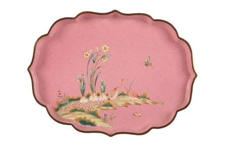 CANTON ENAMEL PINK-GROUND OGEE-SHAPED DISH, QIANLONG PERIOD