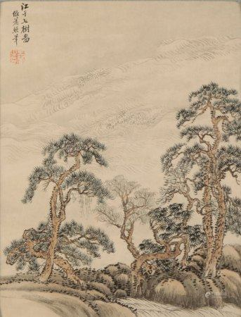 WANG HUI (1632-1717) Trees beside a fast-flowing river, painted in the manner of Xiao Zhao