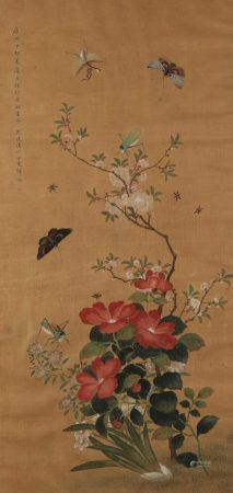 YUN BING (fl. 1670-1710) Butterflies and other insects among flowering plants