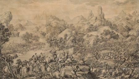 JACQUE-PHILIPPE LE BAS AFTER GIUSEPPE CASTIGLIONE 'The Lifting of the Siege of the Black River Camp'