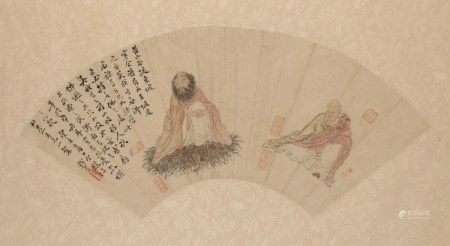 WOU ZUERN, CHINESE FAN PAINTING, Depicting two seated immortals beside a calligraphic poem