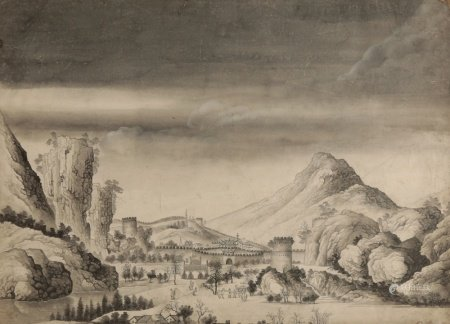 CHINESE SCHOOL (early 19th century) The Great Wall of China with figures in the foreground