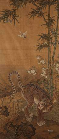 ASCRIBED TO LONG YUAN (probably Korean 18th/19th century) A tiger with magpies among bamboo