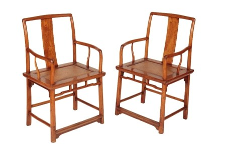 PAIR OF CHINESE ELM OPEN ARMCHAIRS, SHANXI PROVINCE, 19TH CENTURY