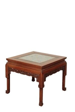 HARDWOOD AND FAMILLE ROSE PORCELAIN CORNER LEG TABLE