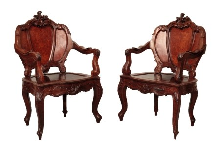 FINE PAIR OF CARVED HARDWOOD AND BURRWOOD ARMCHAIRS, QING DYNASTY, 19TH CENTURY