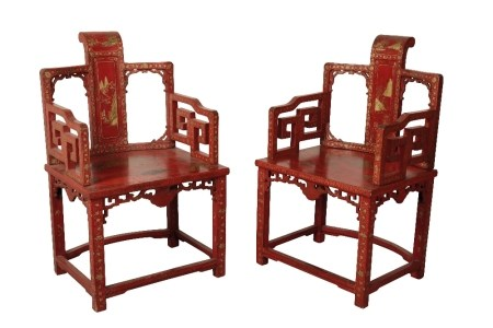 PAIR OF RED LACQUER ARMCHAIRS, LATE QING DYNASTY