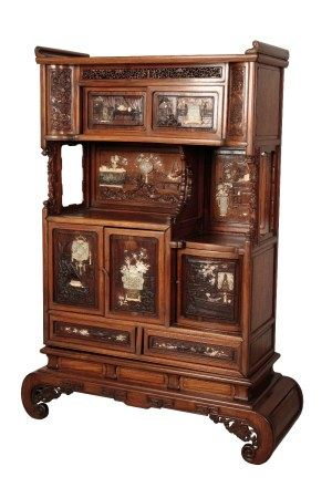 EXCEPTIONAL CARVED HUANGHUALI, HARDWOOD, MOTHER OF PEARL, IVORY AND JADE INLAID CABINET