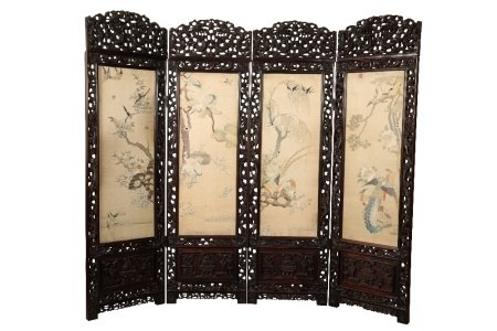 IMPRESSIVE HARDWOOD AND EMBROIDERED SILK FOUR FOLD SCREEN, QING DYNASTY, 19TH CENTURY