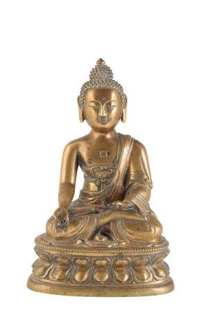 GOOD GILT-BRONZE SEATED BUDDHA, QING DYNASTY, 18TH CENTURY
