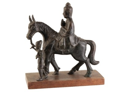 FINE BRONZE EQUESTRIAN GROUP OF PRINCE SIDDHARTHA AND ATTENDANT, LIAO DYNASTY