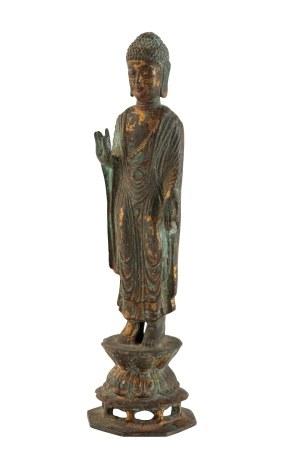 GILT-BRONZE STANDING BUDDHA, KOREAN 18TH CENTURY