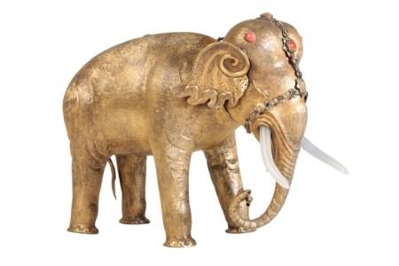 GILT-METAL FIGURE OF AN ELEPHANT, LATE QING DYNASTY
