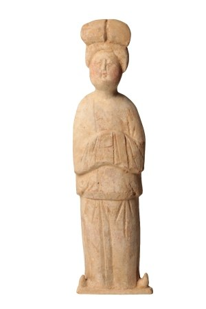 PAINTED POTTERY FIGURE OF A LADY, TANG DYNASTY