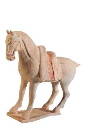 PAINTED POTTERY FIGURE OF A HORSE, TANG DYNASTY
