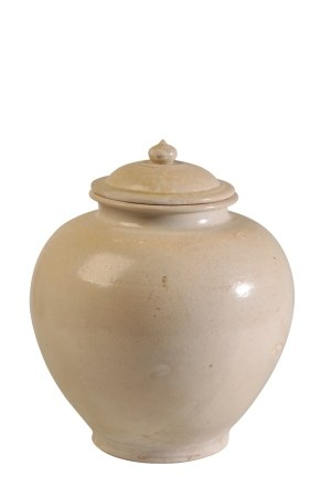 GLAZED POTTERY JAR AND COVER, TANG DYNASTY