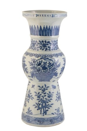 LARGE BLUE AND WHITE GU VASE, WANLI SIX CHARACTER MARK AND OF THE PERIOD