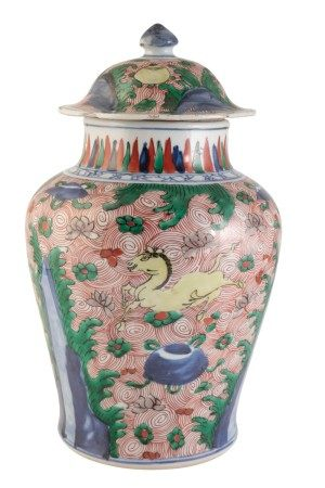 WUCAI JAR AND COVER, TRANSITIONAL PERIOD, 17TH CENTURY