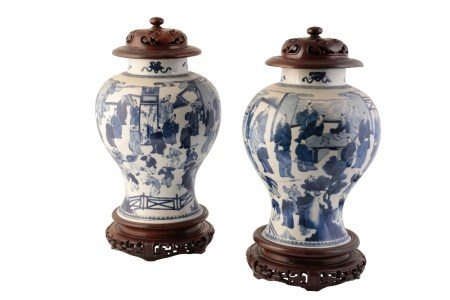 LARGE PAIR OF BLUE AND WHITE '100 BOYS' JARS, KANGXI PERIOD
