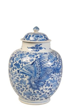 BLUE AND WHITE 'PHOENIX' JAR AND COVER, KANGXI PERIOD