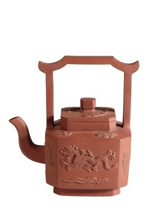 YIXING STONEWARE 'DRAGON' TEAPOT AND COVER, KANGXI PERIOD