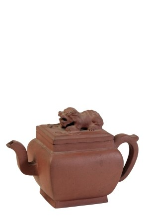 YIXING SQUARE-FORM TEAPOT AND COVER, KANGXI PERIOD