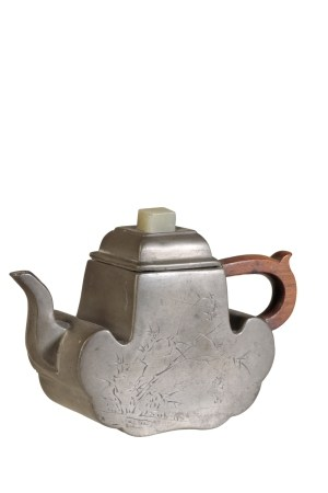 PEWTER-ENCASED YIXING TEAPOT AND COVER, KANGXI PERIOD