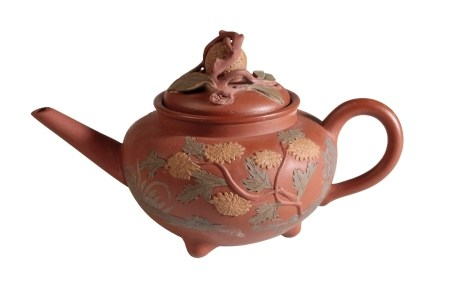 YIXING STONEWARE TEAPOT AND COVER, QING DYNASTY