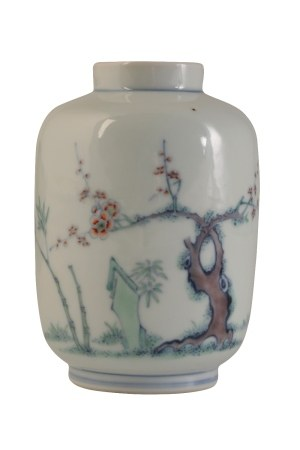 SMALL DOUCAI VASE, YONGZHENG SIX CHARACTER MARK AND OF THE PERIOD
