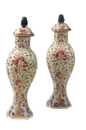 GOOD PAIR OF FAMILLE ROSE COVERED VASES, YONGZHENG PERIOD