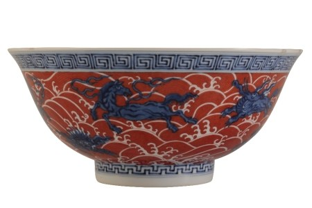 IRON-RED AND UNDERGLAZE BLUE 'MYTHICAL' BEAST BOWL, QIANLONG SEAL MARK AND OF THE PERIOD