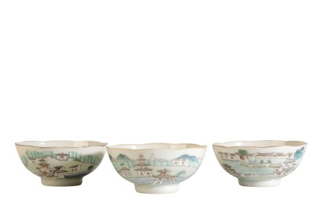 SET OF THREE FAMILLE ROSE LANDSCAPE BOWLS, DAOGUANG RED SEAL MARK AND OF THE PERIOD